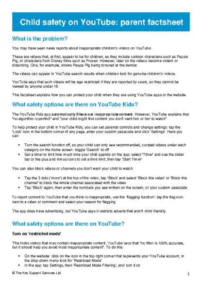 YouTube Safety Factsheet