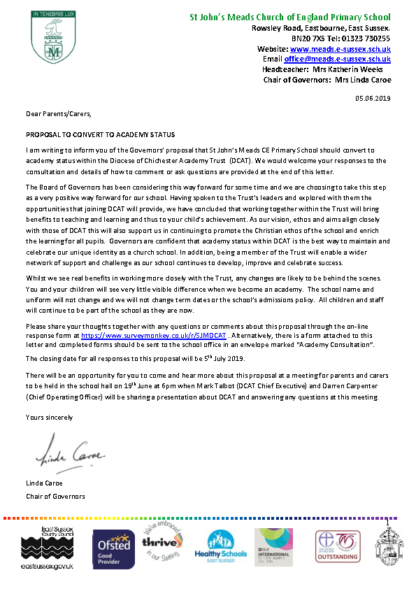 Chair's Letter to Parents 05/06/2019