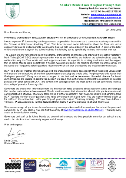 Chair's Letter to Parents 20/06/2019