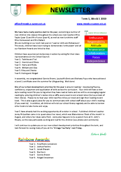 Newsletter Term 1 Week 1